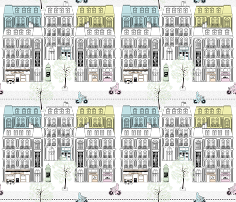 Boulevard Haussmann Pastel fabric by vannina on Spoonflower - custom fabric