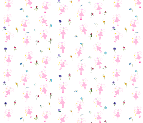 SparklePink Fairy and Flowers fabric by de-ann_black on Spoonflower - custom fabric
