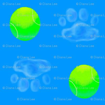 Tennis Ball and Dog Pawprint