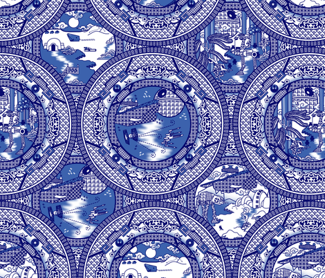 Blue Willow Wars fabric by thirdhalfstudios on Spoonflower - custom fabric