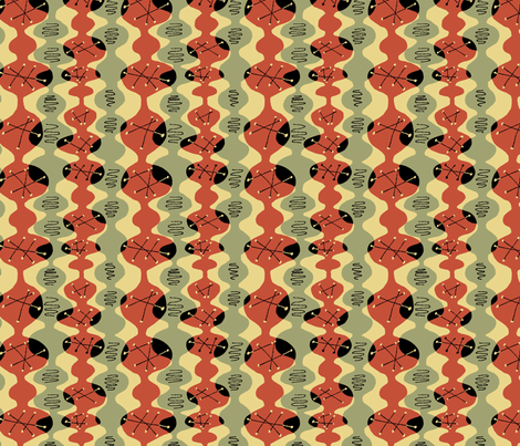 Atomic Beakers Red Green Black fabric by vinpauld on Spoonflower - custom fabric