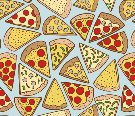 pizza party - blue fabric by kristinnohe on Spoonflower - custom fabric