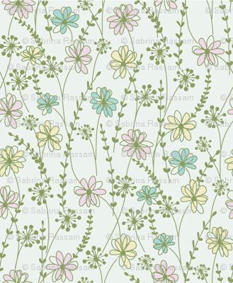sweet floral_aqua