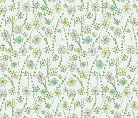 sweet floral_aqua fabric by paintedstudio on Spoonflower - custom fabric