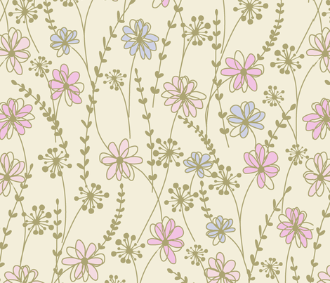 sweet floral_ecru fabric by paintedstudio on Spoonflower - custom fabric