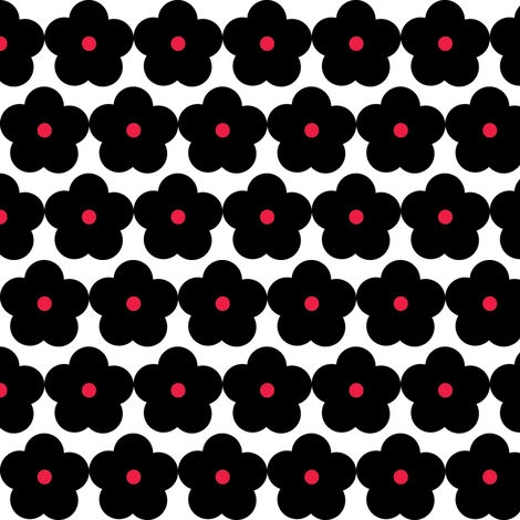 mod_flower_black_small fabric by kate's_print_shop on Spoonflower - custom fabric
