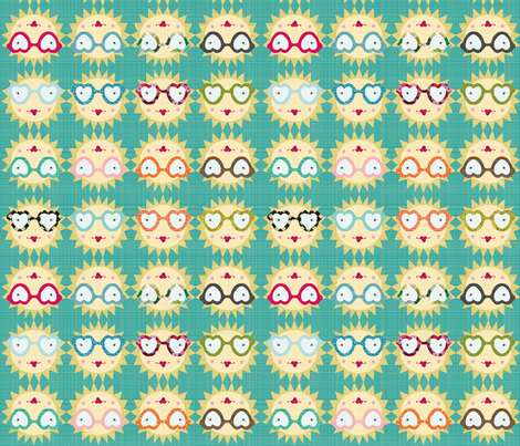 geek_suns_-_aqua fabric by bee_brown on Spoonflower - custom fabric