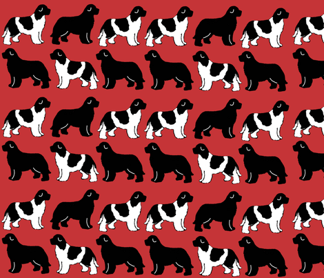 newf_silhouettes_on_red fabric by dogdaze_ on Spoonflower - custom fabric