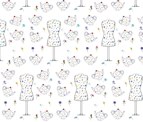 Fairytale Tea Dresses & Teapots fabric by de-ann_black on Spoonflower - custom fabric