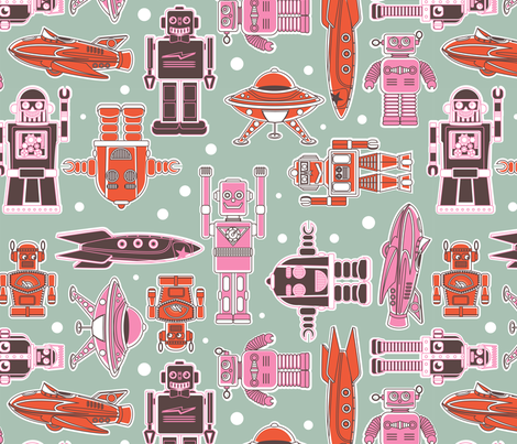 Robots and Spacecraft fabric by cjldesigns on Spoonflower - custom fabric