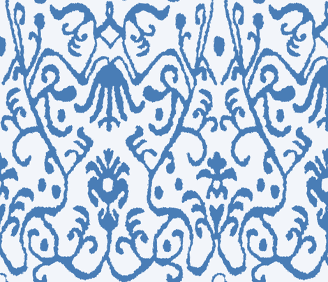 Blue Ikat fabric by sparrowsong on Spoonflower - custom fabric