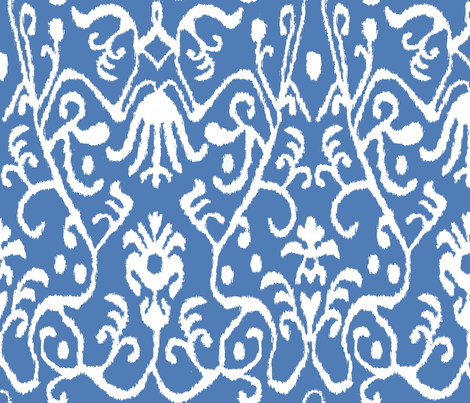 Gem Blue Ikat Floral fabric by sparrowsong on Spoonflower - custom fabric