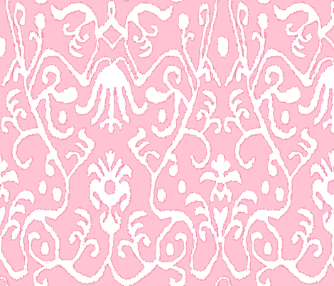 Pink Ikat Floral fabric by sparrowsong on Spoonflower - custom fabric