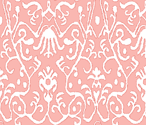 Coral Ikat fabric by sparrowsong on Spoonflower - custom fabric