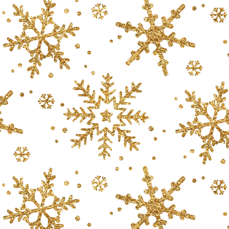 Snowflakes in Gold Glitter fabric by willowlanetextiles on Spoonflower - custom fabric