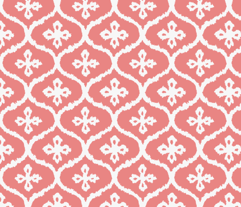 Coral Ikat Ogee fabric by sparrowsong on Spoonflower - custom fabric