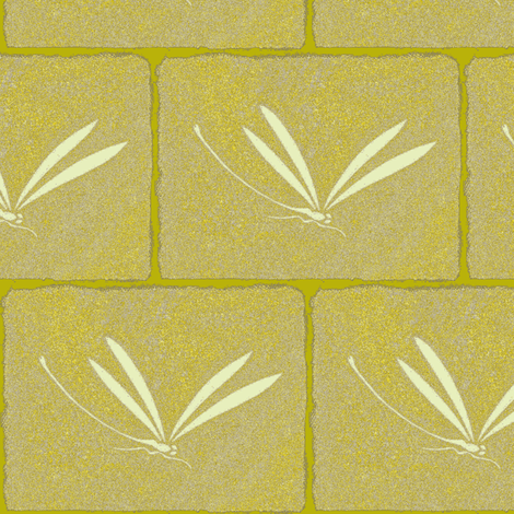 dragonfly tile - yellow, stone, cream fabric by materialsgirl on Spoonflower - custom fabric