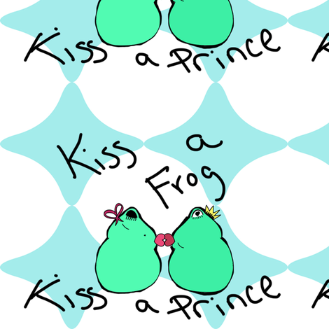 Kiss a Frog Kiss a Prince fabric by egprestonhouse on Spoonflower - custom fabric