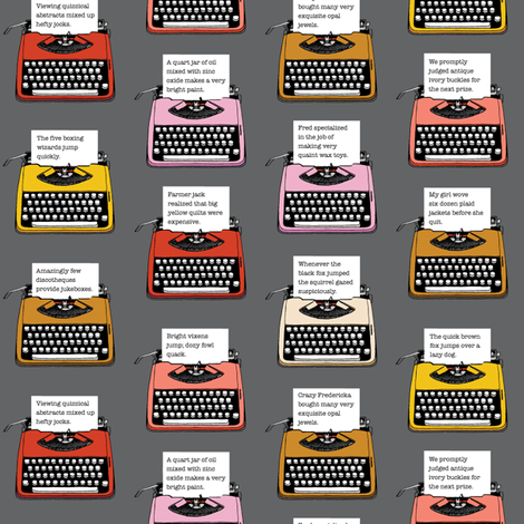 Pangram Typewriters* (Pepper Pot) fabric by pennycandy on Spoonflower - custom fabric