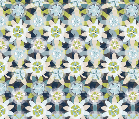 Passionflower fabric by owlandchickadee on Spoonflower - custom fabric
