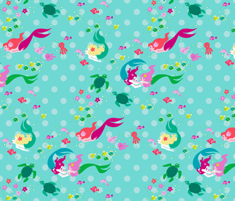Mermaid Play fabric by aimee on Spoonflower - custom fabric