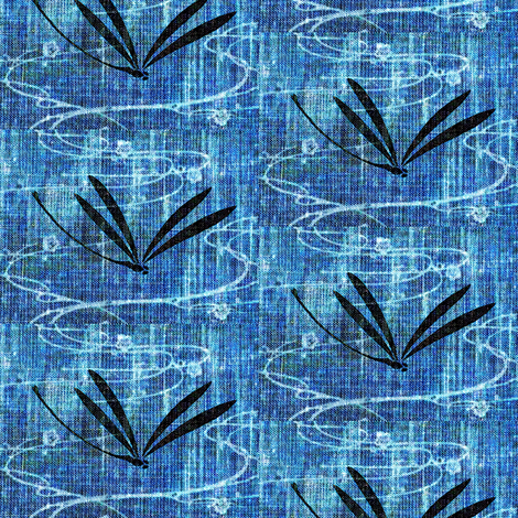 Dragonflies on pond - denim, black, white fabric by materialsgirl on Spoonflower - custom fabric