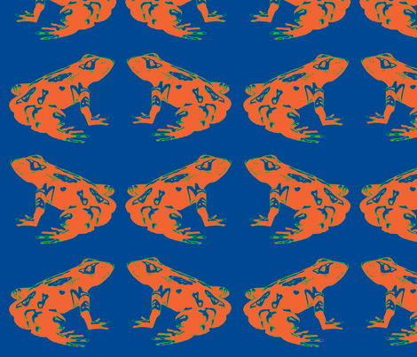 Orange Tree Frog in Blue fabric by walkwithmagistudio on Spoonflower - custom fabric