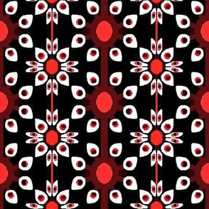 Black,white and red flowers and dots