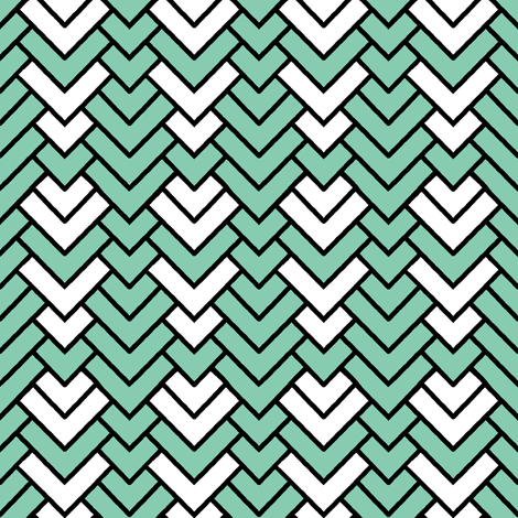 Mint Chevron fabric by pond_ripple on Spoonflower - custom fabric