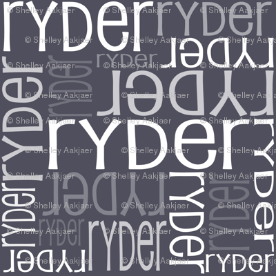 Personalised Name Fabric - Dark Aniseed Grey
