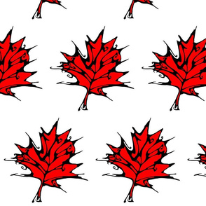 Inkblot Red Maple Leaf