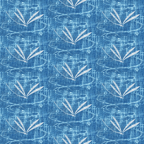 dragonfly on pond - denim blue, white