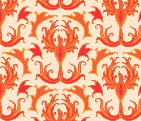 phoenixrisingdamasklg fabric by am2pmdesigns on Spoonflower - custom fabric