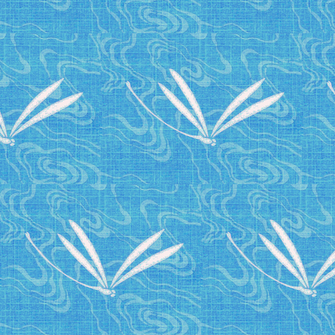 dragonfly ripples - mediterranean blue fabric by materialsgirl on Spoonflower - custom fabric