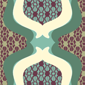 Greek Pattern Tile on green