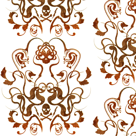 Skull Damask 1 fabric by jadegordon on Spoonflower - custom fabric