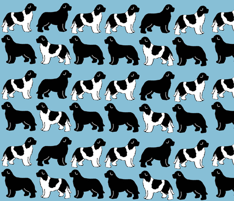 newf_silhouettes_on_blue fabric by dogdaze_ on Spoonflower - custom fabric