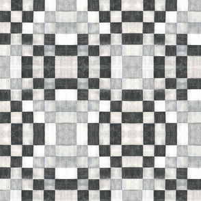 watercolor plaid in black and white