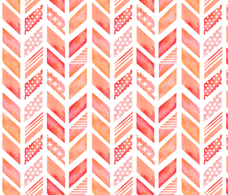 Watercolor Herringbone in Pinks