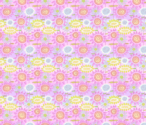 Floral Frolic Pink and Green fabric by vinpauld on Spoonflower - custom fabric