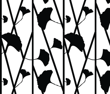 Ginkgo Black  fabric by popstationery&gifts on Spoonflower - custom fabric