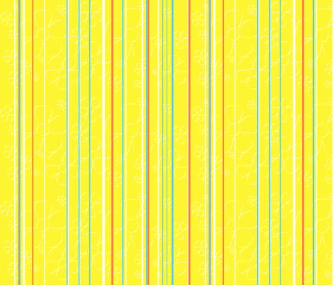 Daisy Stripes - lemon tart fabric by wiccked on Spoonflower - custom fabric