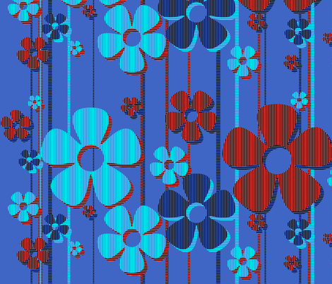 Striped Daisies - blueberry tart fabric by wiccked on Spoonflower - custom fabric