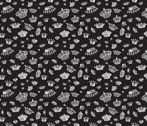 Royal Crowns - White on Black fabric by lavaguy on Spoonflower - custom fabric