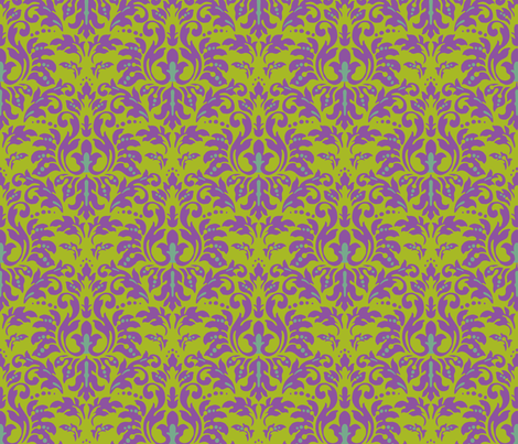 Chartreuse_Plum_Damask fabric by kelly_a on Spoonflower - custom fabric