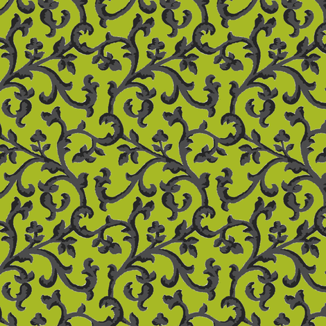 Black_Chartreuse_Scroll fabric by kelly_a on Spoonflower - custom fabric