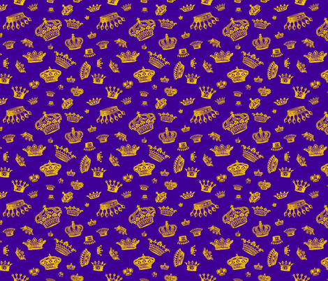 Royal Crowns - Gold on Purple fabric by lavaguy on Spoonflower - custom fabric