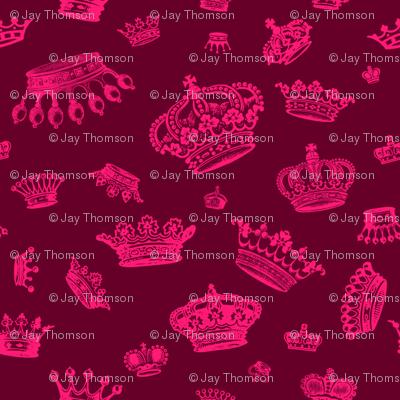 Royal Crowns - Pink on Maroon