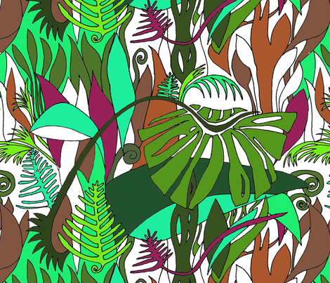 Rainforest on white fabric by wiccked on Spoonflower - custom fabric