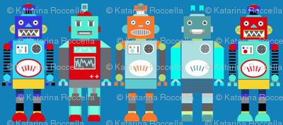 retro robots blue